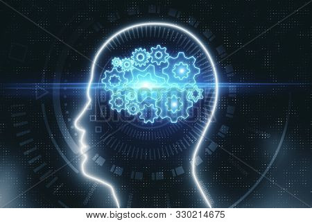 Head Outline With Digital Gears. Artificial Intelligence And Technology Concept. 3d Rendering