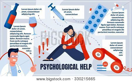 Informational Poster Is Written Physiological Help. Man Having Physical Problem. Attachment Or Bad H
