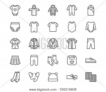 Baby Clothes Flat Line Icons Set. Bodysuit, Coverall, Romper, Buster Suit, Newborn Nest, Girl Dress