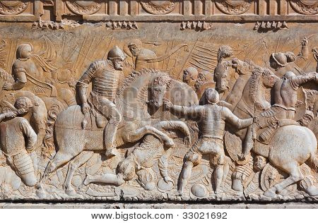 Bas-relief At Palace Alhambra - Granada Spain