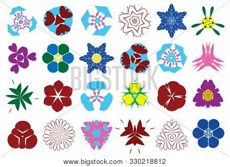 Collection Of Twenty-four Kaleidoscope Abstract Colorful Flowers. Set Of Twenty-four Round Polygon C