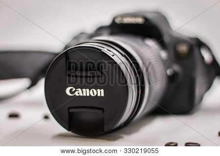 Bangkok Thailand-october 12, 2019  : Front View Of A Canon Eos 700d Slr Camera Isolated On White, Fo
