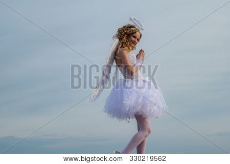 Angel Children Girl With White Wings Pray. Little Angel In Love. Sweet Angel Girl. Valentines Day Ca