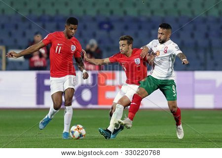 Sofia, Bulgaria - 14 October 2019: Marcus Rashford (l) And Harry Winks (c) Are Seen In Action Agains