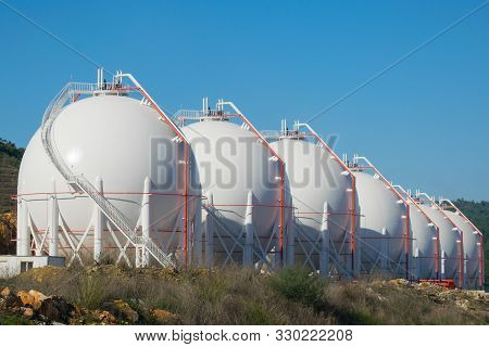 Liquefied Natural Gas Storage Tanks. Gas Storage Plant.