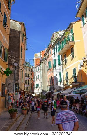 Vernazza, Italy - September 14, 2019: Central Street Of Vernazza. Vernazza Is A Town And Comune Loca