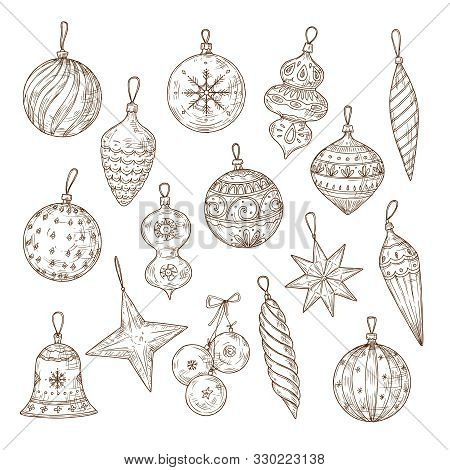 Christmas Balls Sketch Set. Xmas Tree Decorations. Winter Holidays And New Year Vector Hand Drawn Fe