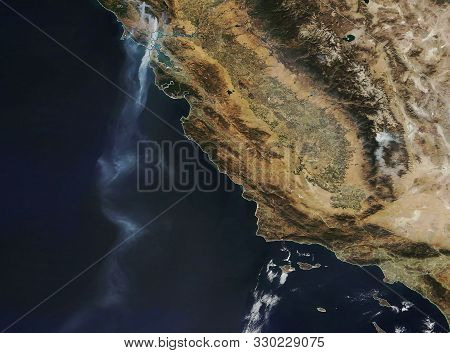 Fire Place In Sonoma, California Map.  View From Outer Space.  Satellite  Image. Some Elements Of Th