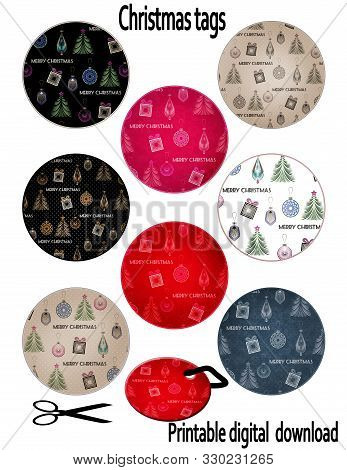 Round Circle Tags Set Christmas And Happy New Year Design Lables