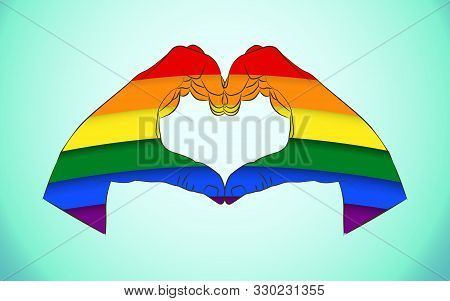Realistic Man Hands Forming A Heart Painted As The Rainbow Flag Symbolizing Gay Love And Gay Pride M