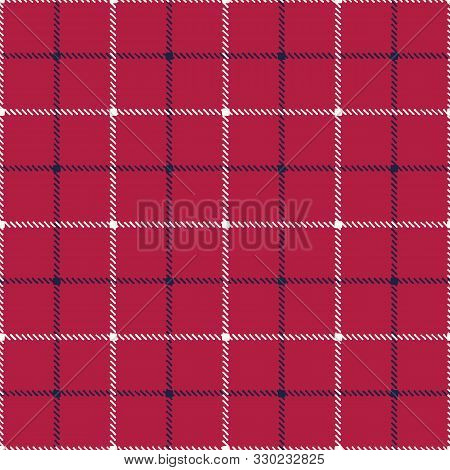 Classic Hand-drawn Blue And White Tattersall Plaid Checks On Red Background Vector Seamless Pattern.
