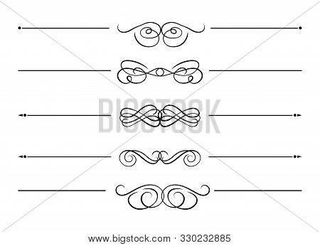 Vector Collection Of Swirl Filigree Divider Lines, Design Elements Isolated On White Background, Bla