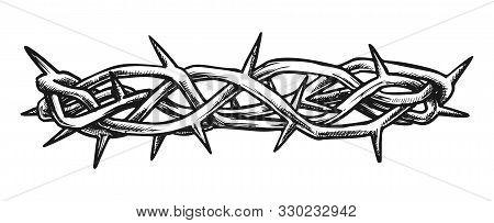 Crown Of Thorns Jesus Christ Side View Ink Vector. Crown Is Crafted In Israel As Reminder Of Sufferi