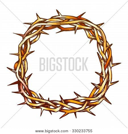 Crown Of Thorns Jesus Christ Top View Ink Vector. Christianity Religion Symbol Branches Of Thorns Wo
