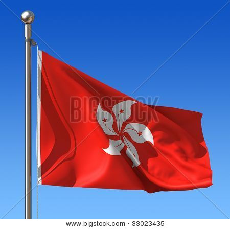 Flag of Hong Kong  against blue sky