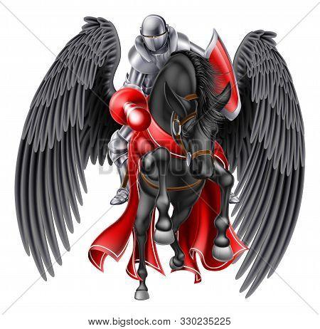 Medieval Knight Mounted On A Black Pegasus Legendary Mythological Winged Horse Holding A Lance Ready