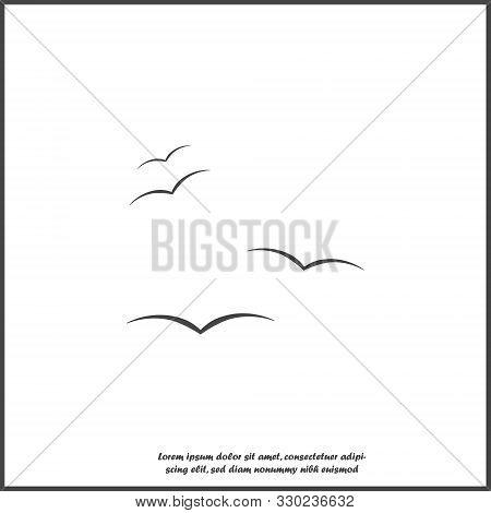 Flock Of Birds. Bird Vector Icon On White Isolated Background.