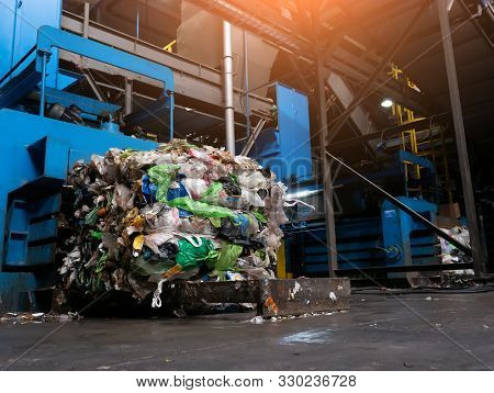 Modern Waste Sorting And Recycling Plant, Hydraulic Press Makes Wired Bale From Pressed Pet Bottles