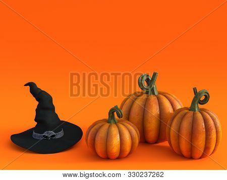 3d Rendering Of A Halloween Fall Pumpkin Greeting Card With A Witch Hat And Three Pumpkins In The Bo