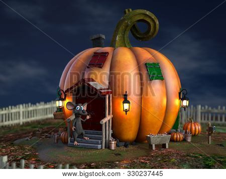 3d Rendering Of A Cute Smiling Cartoon Mouse Standing Outside A Fantasy Pumpkin House In A Fairytale