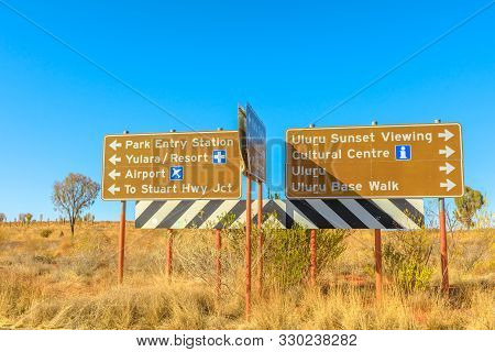 Uluru, Northern Territory, Australia - Aug 25, 2019:uluru-kata Tjuta National Park Direction: Yulara