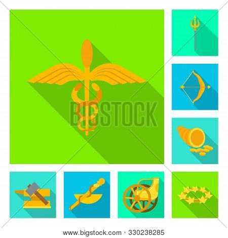 Isolated Object Of Deity And Antique Sign. Set Of Deity And Myths Vector Icon For Stock.