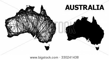 Net Vector Map Of Australia. Linear Frame 2d Network In Vector Eps Format, Geographic Template For P