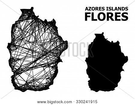 Web Vector Map Of Azores - Flores Island. Wire Frame 2d Network In Vector Format, Geographic Templat