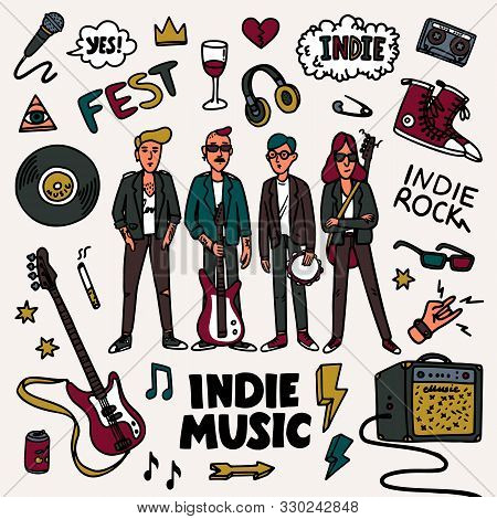 Indie Rock Music Set. Illustration Of Musicians And Related Objects Such As Guitar, Sound Amplifier,