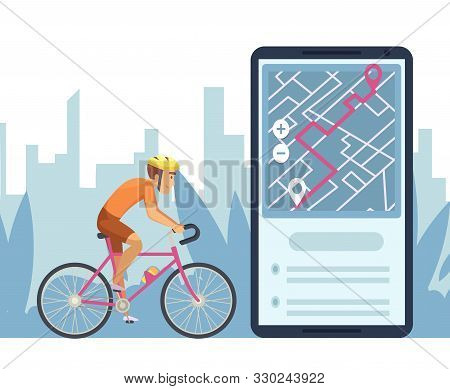 Navigation Concept. Mobile City Map Navigation App. Cartoon Character Cyclist Rides On Online Map Ve