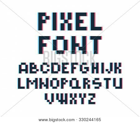 Pixel Font. Retro Video Game 80s Vintage Computer Typography Letters And Numbers Vector Font Distort