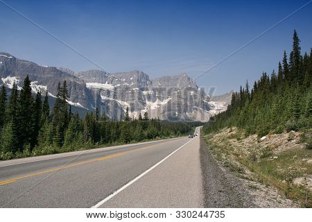 Icefields Parkway In Banff National Park Of Canada. Mountain Landscape.