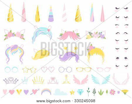 Unicorn Face. Fairy Tale Pony Head Horn Eyes Ear Hairs Birthday Party Unicorn Vector Creation Kit. P
