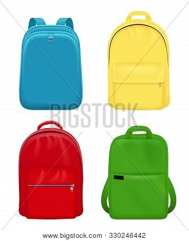 Backpack Realistic. School Bag Personal Leather Travel Luggage Vector Mockup Objects. Illustration S