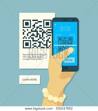 Scanning Qr Code. Hand Holding Smartphone And Laser Scanning Coding Product Sticker Vector Concept.