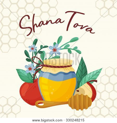 Symbols Of Shana Tova Jewish Holiday Concept Vector Illustration
