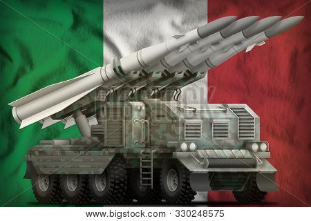 Tactical Short Range Ballistic Missile With Arctic Camouflage On The Italy Flag Background. 3d Illus