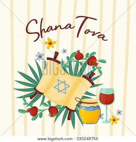 Main Symbols Of Shana Tova Jewish Holiday Vector Illustration
