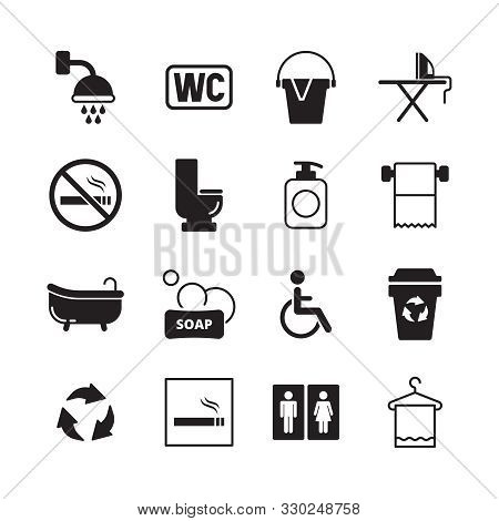 Wc Pictogram. Male And Female Public Toilets Icons Restroom Entrance Symbols Washing Room Vector Pic
