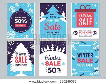 Winter Sale Cards. Christmas Promo Banners Big Discounts And Special Season Offers Vector Labels. Il