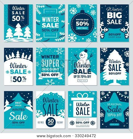 Christmas Sale. Winter Promotional Labels Cards Advertising Special Offers Season Sales And Perfect
