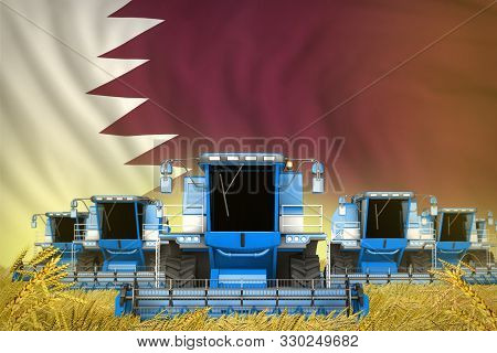 Industrial 3d Illustration Of Many Blue Farming Combine Harvesters On Rye Field With Qatar Flag Back