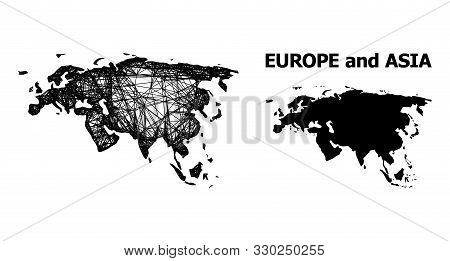 Web Vector Map Of Europe And Asia. Linear Carcass Flat Network In Vector Eps Format, Geographic Mode