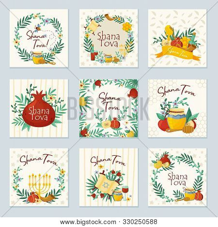 Shana Tova Jewish Holiday Main Symbols Concept Vector Illustrations Set