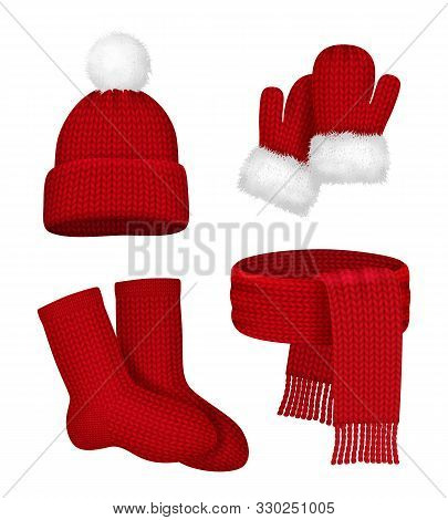 Winter Clothes. Scarf Mittens Stocking Snow Hat With Fur Season Fashion Red Christmas Clothes Vector