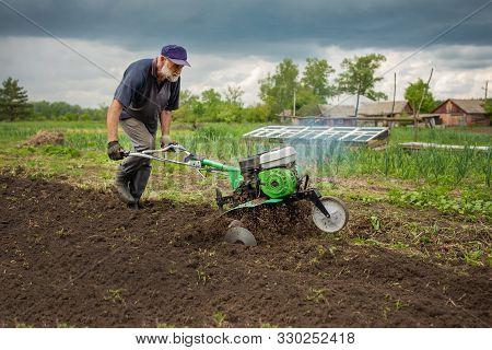 Garden Tiller To Work, Walk-behind Tractor, Close Up