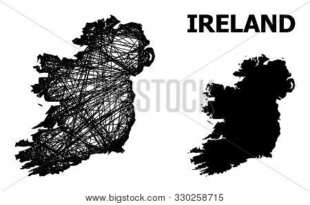 Web Vector Map Of Ireland Island. Linear Frame 2d Network In Vector Format, Geographic Template For