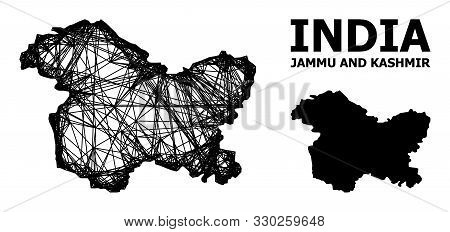 Web Vector Map Of Jammu And Kashmir State. Wire Carcass Flat Mesh In Vector Format, Geographic Templ
