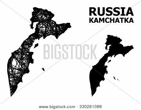 Net Vector Map Of Kamchatka Peninsula. Linear Frame Flat Mesh In Vector Format, Geographic Template