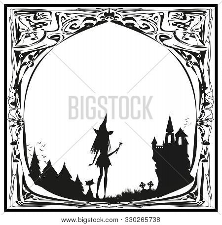 Frame Of Witch Cemetery And Haunted House , Vector Illustration
